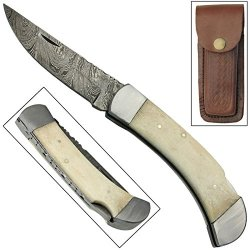 Mountain Man Lock Back Damascus Steel Hand Forged Pocket Knife