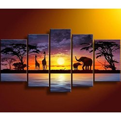 Sangu Gift 100% Hand-Painted Hot Selling Free Shipping Framed 4-Piece Afica Giraffe,Elephant Oil Paintings Canvas Wall Art For Home Decoration(10X16Inchx2,8X20Inchx2,8X24Inchx1)