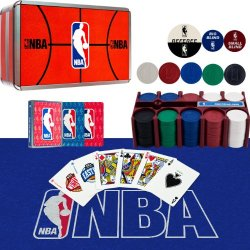 Nba 200 Chip Poker Set With Collector'S Tin - W/Cards,Felt Nba 200 Chip Poker Set With Collector'S