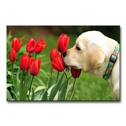 Green Wall Art Painting Golden Retriever Puppy Smelling The Tulips Prints On Canvas The Picture Animal Pictures Oil For Home Modern Decoration Print Decor For Kids Room