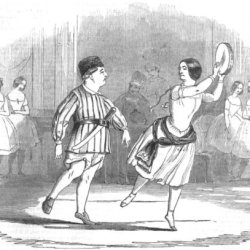 Theatre: & Mrs Keeley, Pas De Tambourine & Carving-Knife Lyceum, Old Print, 1844