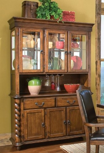 Image of China Cabinet Buffet Hutch with Classic Rope Twist Design Brown Finish (VF_101114)