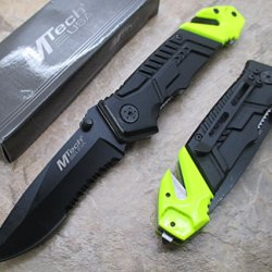 "M Tech Tactical Folding Knife 3.25"" Black 440 Half Serrated Stainless Steel Blade"