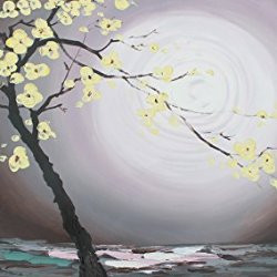 Cherry Tree Blossom Palette Knife Art Modern Home Decor Oil Paintings On Canvas Tree Against The Rising Sun Thick Texture Vivid Color