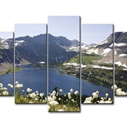 5 Piece Wall Art Painting Glacier National Park Lake Snow Mountain Fllower Pictures Prints On Canvas Landscape The Picture Decor Oil For Home Modern Decoration Print For Bedroom