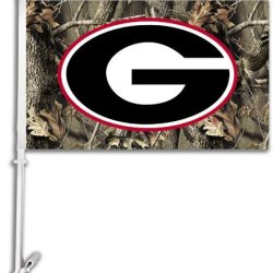 97607 - Georgia Bulldogs Car Flag W/Wall Brackett