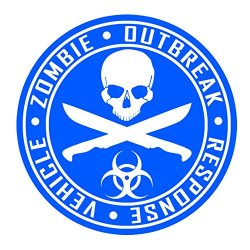 Auto Vynamics - Zorv-Machetes-20Bg-Gwhiblu - Gloss White & Blue 2-Color Vinyl Zombie Outbreak Response Vehicle (Zorv) Decal - Crossed Machetes Design - Single Decal - (1) Piece Kit - 21-By-21-Inches
