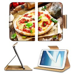 Pizza Dish Food Spices Tomatoes Cheese Dough Knife Fork Samsung Galaxy Note 8 Gt-N5100 Gt-N5110 Gt-N5120 Flip Case Stand Magnetic Cover Open Ports Customized Made To Order Support Ready Premium Deluxe Pu Leather 8 7/16 Inch (215Mm) X 5 11/16 Inch (145Mm)