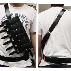 Single Sided Black Throwing Knife Bandolier Vest Holder Belt Strap Sheath