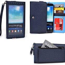 Smartphone Wallet Fits Doogee Dagger Dg550   Slate Navy & Vibe Blue