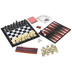 Best Christmas Clearance Sale 7 In 1 Travel Game Set Valentines Day Gift Idea Adult Kids Man Men Checkers Chess Dominoes Backgammon & Many More