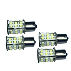 Hqrp 4-Pack Ba15S Bayonet Base 30 Leds Smd 3528 Led Bulb Natural White For #93 #1141 #1156 Rv Interior Ceiling Porch Lights Replacement + Uv Meter