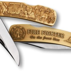 Fireman Lockback Knife - Small Bronze Antique