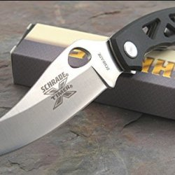 Schrade Sch503 X-Timer Linerlock Knife, Black G-10 Skelton Handle With Stainless Clip Point Blade With Thumb Hole And Pocket Clip