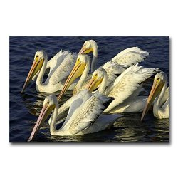 Wall Art Painting Pelicans Get Together In The Water Prints On Canvas The Picture Animal Pictures Oil For Home Modern Decoration Print Decor For Bedroom
