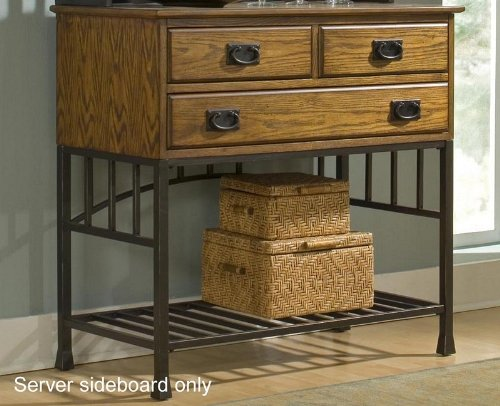 Image of Server Sideboard with Metal Base in Oak Finish (VF_HY-5050-61)