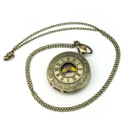 New Fashion Retro Punk Chain Necklace Roman Numerals Pocket Watch Jewerly Gift
