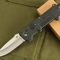 Black Rescue Glass Breaker Folding Pocket Knife-8.26''