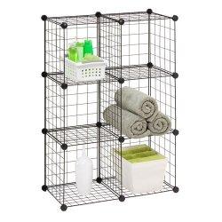 Honey-Can-Do Shf-02113 Modular Mesh Storage Cube, Black, 6-Pack