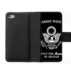 Jdsitem Unique Proud Army Wife Design Diary Leather Case Cover Sleeve Protector For Phone Iphone 5S