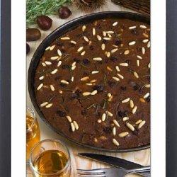 Framed Print Of Castagnaccio, Pie Of Chestnut Flour With Raisins, Rosemary And Pine Nuts