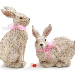 Paper Mache Bunnies With Love Letter Print~ Home Decor Easter