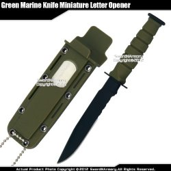 Green Small Marine Knife Replica Letter Opener Mini Dagger Drop Point Serrated