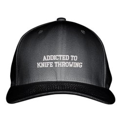 Addicted To Knife Throwing Sport Embroidered Adjustable Structured Hat Cap Black