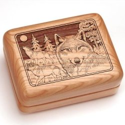 "3X4"" Box With Money Clip/Pocket Knife - Wolf Pack"