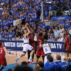 Miami Heat V Dallas Mavericks - Game Four, Dallas, Tx -June 7: Dirk Nowitzki, Udonis Haslem, Chris Photographic Poster Print By Andrew Bernstein, 8X12