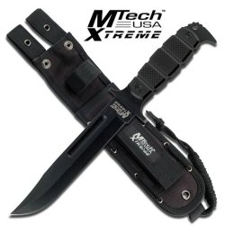 "Mx-8079Bk. M Tech Xtreme Tactical Fixed Blade Knife 12"" Overall Mtech Xtreme Fixed Blade Combat Tactical Bowie Knife Fixed Blade Knife 12"" Overall Length 6.5"" Black Stainless Steel Blade 5Mm Thick Drop Point Blade With Blood Groove Black G10 Handle 14.75"""