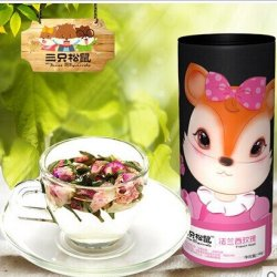 A Luckycat Three Squirrels _ France Rose Tea Herbal Tea Quality Goods Double Pink Rosebud 45 G Canned