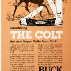 1980 Ad Colt Buck Knives Super Booklet Pocket Bolster Liner Spring Handle Blade - Original Print Ad