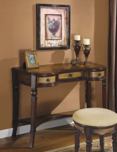 Image of Console Table with Storage Drawers in Walnut Finish (VF_950061)