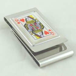 Stainless Steel Money Clip-Queen Of Hearts -2 Sided
