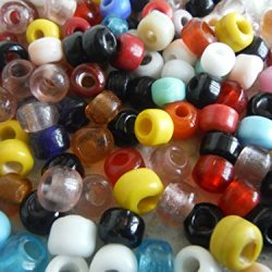 "25 Pcs - Mixed Colored Glass ""Crow"" Trade Beads - Native American Style Craft Supplies - Destash"