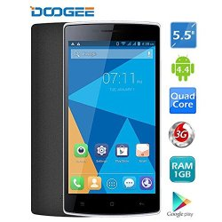 "Doogee Kissme Dg580 5.5"" Ips Mtk6582 4-Core Android 4.4 3G Phone 1Gb Ram 8Gb Rom 8Mp Cam Hotknot (Black)"
