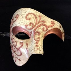Phantom Of The Opera Venetian Masquerade Mask - New With Cracks
