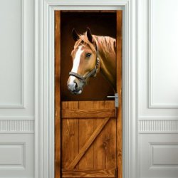 "Door Sticker Horse In Stall Stable Western Mural Decole Film Self-Adhesive Poster 30X79""(77X200 Cm)"