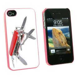 Graphics And More Multi-Function Knife Screwdriver - Snap On Hard Protective Case For Apple Iphone 4 4S - Pink - Carrying Case - Non-Retail Packaging - Pink