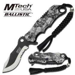 M-Tech Zombie Hunter Grey Skull Camo Spring Assist Knife
