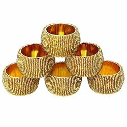 Beaded Napkin Rings Set Of 6 Golden Decorations Valentine Ornaments, 1.5 Inches