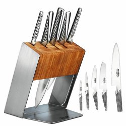 Global Japanese Katana 6 Pce Knife Block Set And Global Mino Ceramic Sharpener