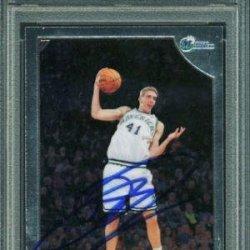 Mavericks Dirk Nowitzki Signed Card 1998 Topps Chrome Rookie Rc #154 Slabbed - Psa/Dna Certified - Nba Slabbed Vintage Cards