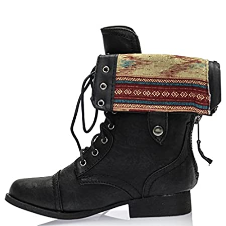 Check out the very sweet pair of floral combat boots! It features a padded insole, round toe front, center back zipper, floral print lining, double snap for adjustment, and center front laces. Gotta love a pair of chic little boots to wear with almos...