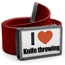 "Neonblond Belt Red ""I Love Knife Throwing"" - With Buckle"