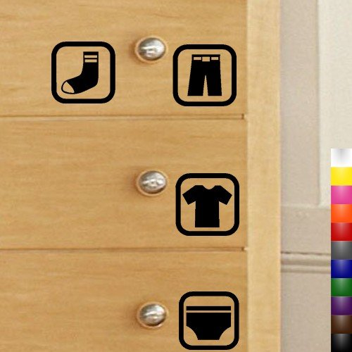 Image of StikEez 4-Pack Dresser Drawer Visual Labels for Kids Clothes Fun & Educational Decals (B004FRM7UK)