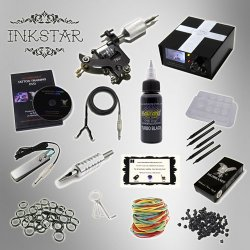 Inkstar Tattoo Kit Venture 1 Machine Gun + Needle + Power Supply + Inks
