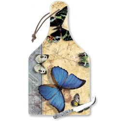 Highland Graphics Flutter By Big Cheese Glass Board With Cheese Knife, 14-1/4-Inch
