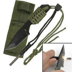 "Swordmaster - 7"" Tactical Combat Hunting Knife W/ Fire Starter & Sheath Survival Nib"